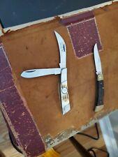 Vintage Pocket Knives-Frontier Locking Single Blade & Whitetail Cutlery Hawkbill