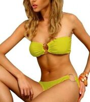 Damen Sexy Push Up Bikini Set Bandeau Gelb Badeanzug Strand Sommer C-String