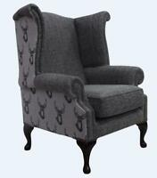 Chesterfield Queen Anne High Back Wing Chair Antler Stag Charcoal Grey Fabric
