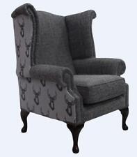 Chesterfield Queen Anne dossier haut aile chaise ANTLER STAG Gris Anthracite Tissu