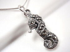 Marcasite Seahorse 925 Sterling Silver Necklace Corona Sun Jewelry ocean beach