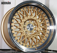 AODHAN AH05 15x8 4x100 / 4x114.3 +20 Gold Machined Lip (PAIR) wheels
