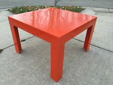 Mid Century Modern Kartell Style 2'x2' Square Red Resin Plastic Coffee Table