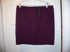 NWT Daisy Fuentes Size 14P Plum Above the Knee Career Skirt Belt Hoops