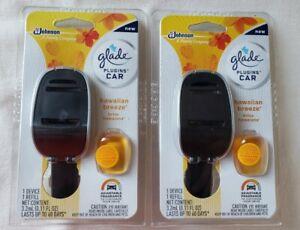 2 Glade Car Plugins Device & 2 Refills Scent Starter Pack Hawaiian Breeze Oil