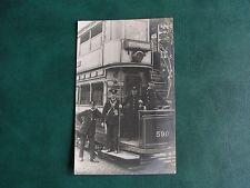 ORIGINAL REAL PHOTO TRANSPORT POSTCARD - MANCHESTER - TRAM, CREW, EXCHANGE c1909