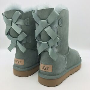 UGG Bailey Bow II Sea Green Suede Fur Boots Womens  *NIB*