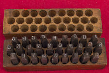 """Young's Hand-cut Steel Stamps 1/4"""" Letters 28 Pcs. Very Good Condition in Box"""