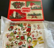Huge Lot Vintage Dennison Gummed Stickers Seals Christmas in Vintage Card Box