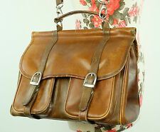 Vintage Rich Tan Brown Thick Leather Classic Saddle/Satchel Shoulder Bag