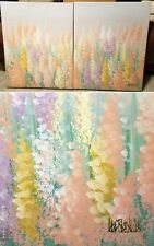 LEE REYNOLDS ORIGINAL DOUBLE PANEL FLORAL OIL ON CANVAS PAINTING 24×36 EACH ONE