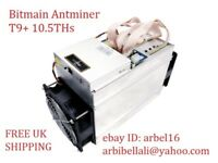 New Bitmain Antminer T9+ 10.5TH ASIC BITCOIN Miner In Hand APW7 PSU Included