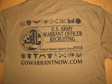 BNWT U.S. ARMY WARRANT OFFICER RECRUITING T-SHIRT MILITARY DBLE SIDED TAN SIZE M