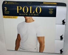 Polo Ralph Lauren White Classic Fit Three 3 Pack Cotton Crew Neck Tee Shirt $42