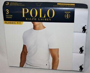 Polo Ralph Lauren White Classic Fit Three 3 Pack Cotton Crew Neck Tee Shirt $42