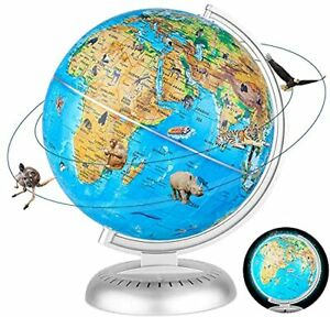 Illuminated Globe with Stand World Globe for Kids Learning with LED Night Light