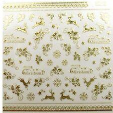 Weihnachtssticker Nagelsticker GOLD Elch Schneeflocke Eiskristalle  HC15