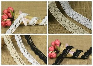 Cotton Lace SCALLOPED Crochet White Or Cream  Black Vintage Wedding Craft Trim