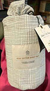 Hearth & Hand Magnolia Foggy Day Green Grid Full Size Kids 100% Cotton Sheet Set