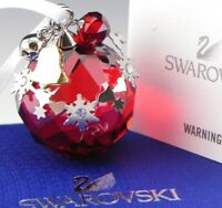 Swarovski Austria Crystal Christmas Ball Ornament Red #1144685 Mint Box COA