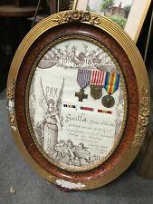 ancien cadre diplôme & médaille militaire guerre 1914 1918  WW1 poilu
