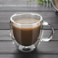 Simple Glass Coffee Mug Clear Double Wall Insulated Thermal Tea Cup Drinking New