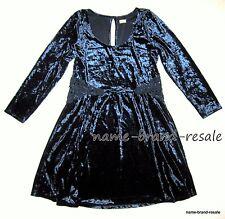 HOLLISTER NWT Womens S SMALL Dark Navy Blue Crushed Velvet DRESS Knee Length NEW