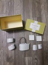 TEA FORTE TEARDROP TEAPOT 7 PIECE SET WHITE PORCELAIN & STAINLESS HANDLE