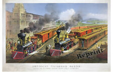 Wall Art - American Railroad Scene  1874 Currier & Ives  11x17