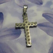 Pendentif  Croix Pavé de Diamant Cz 25 mm en Acier Inoxydable de Dolly-Bijoux