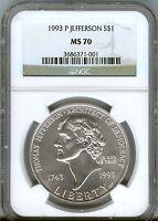 1993-P JEFFERSON silver $1- NGC  -  MS70