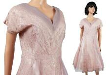 40s Cocktail Dress L Vintage Mauve Pink Purple Lace Tulle Prom Gown Wedding