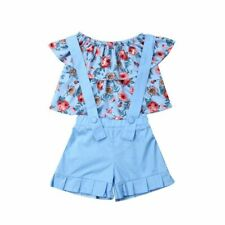 Girls Clothes Suits Summer Floral Tops Overalls Suit Sets Ruffles Sleeve Sets