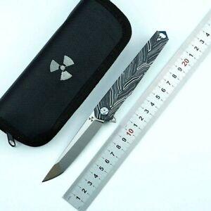 Straightback Folding Knife Pocket Hunting Survival Tactical D2 Blade G10 Handle