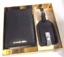 Michael Kors Boxed Gift Set Passport Case Luggage Tag Black Leather NWT $105