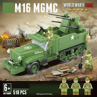 WW2 US Military Army Armoured M16 Truck War Vehicle + USA Soldiers fit lego