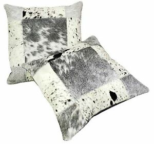 "Cowhide Pillows Cushion Cover Leather Hair on Cow Hide Skin Patchwork 14"" x 14"""