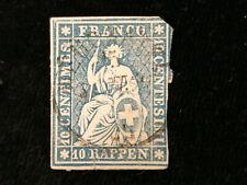 Schweiz Helvetia ab 1854 - Sitzende Helvetia (sog. Strubel) 10 Rappen     Nr.14