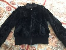 Atos Lombardini Women Sz S  Real Rabbit Fur and Leather Jacket. Made In Italy