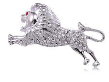 Preying Lion Red Eye Leag Brooch Silver Color Alloy Crystal Rhinestone Running