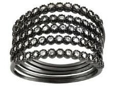 STERLING SILVER BLACK RHODIUM PLATED DIAMOND SIMULANT RING SIZE 7 ONE PER ORDER