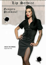 Lip Service GANGSTA PRANKSTA NECK TIE DRESS SIZE S/P RARE CORSET SLIT PENCIL HOT