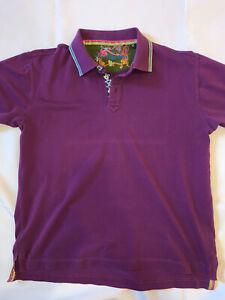 Robert Graham Men's Polo Shirt Size Large Classic Fit Short Sleeve Purple