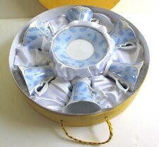 Yedi Espresso Turkish Coffee Porcelain Cup & Saucer Nature Blue Leaves Set of 6