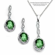Simulated Diamonds Emerald Green Dangle Sterling Silver Earring & Necklace Set