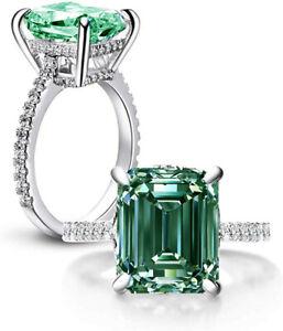 5.30 Ct Vvs1>NATURAL BLUE GREEN EMERALD MOISSANITE DIAMOND 925 SILVER RING