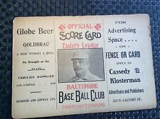 1904 Baltimore Orioles Base Ball Club Program with Robinson Blome's Chocolates