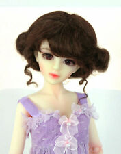 """1/4 1/6 bjd 6-7"""" doll wig brown curly real mohair dollfie yosd WJD406M11S"""