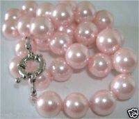 """Beautiful New 8mm Pink South Sea Shell Pearl Necklace 18""""AAA"""