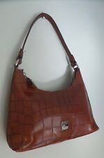 New Dooney & Bourke Brown Leather Croc Embossed Small Mini Hobo Shoulder Bag